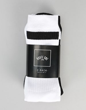 Route One Classic Crew Socks 2 Pack - White/Black