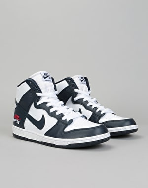Nike SB Zoom Dunk High Pro Skate Shoes - Obsidian/Obsidian-White-Red