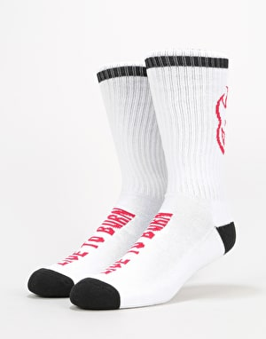 Spitfire Heads Up Socks - White/Black/Red