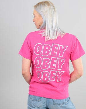 Obey Womens Jumble Lo-Fi T-Shirt - Raspberry