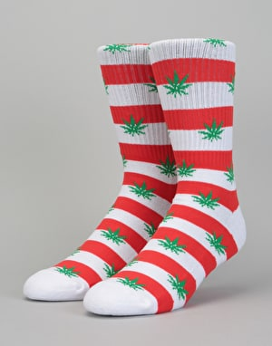 HUF Plantlife Candy Cane Socks - Red