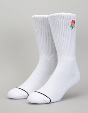 HUF x Butter Goods Rose Crew Socks - White