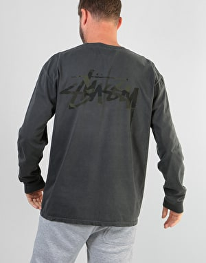 Stüssy Camo Stock Pigment Dyed L/S Pocket T-Shirt - Black