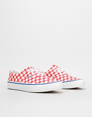 Vans Era Pro Skate Shoes - (Checkerboard) Rococco Red/Classic White