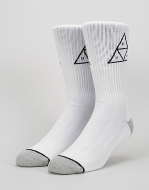 HUF Triple Triangle Crew Socks - White/Black