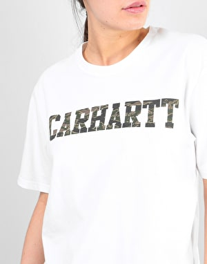 Carhartt Womens Oversized College T-Shirt - White/Camo Tiger/Laurel