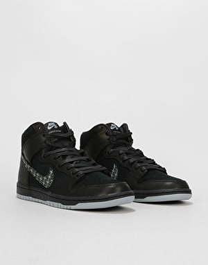 Nike SB Zoom Dunk High Pro QS Skate Shoes - Black/Black-Wolf Grey