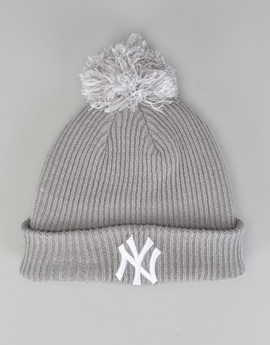 New Era MLB New York Yankees Short Bobble Beanie - Grey