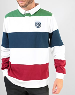 Magenta L/S Rugby Polo Shirt - Green/White/Navy