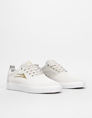 Lakai Bristol Skate Shoes - White/Gold Suede