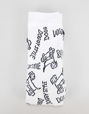 Route One Allover Doggy Style Crew Socks - White/Black