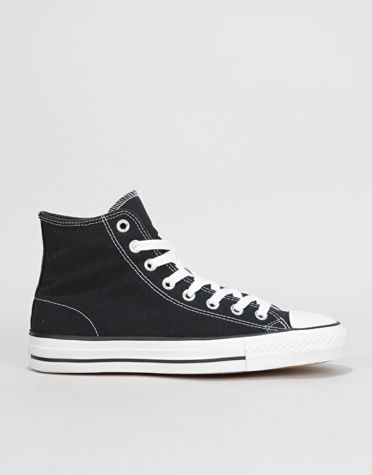 Converse CTAS Pro Hi Canvas Skate Shoes - Black/Black/White