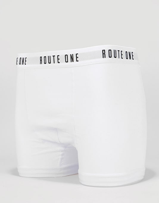 Route One Classic Boxer Shorts 2 Pack - White