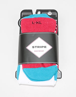 Stinky Stripe Snowboard Socks - White/Blue/Red