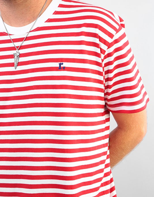Route One Single Stripe T-Shirt - White/Red