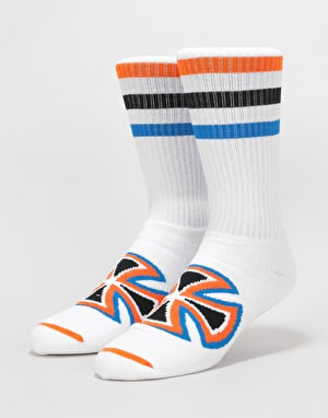 Independent Coloured Stripes Crew Socks 2 Pack -White