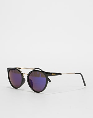 Glassy Sunhater Chuck Sunglasses - Black/Blue Mirror