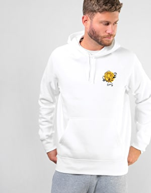 Nike SB Floral Icon Pullover Hoodie - White/Black/Yellow Ochre