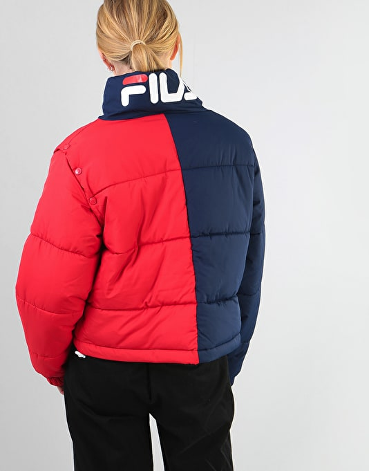 Fila Womens Martina Snap off Sleeve Crop Puffer - Peacoat/Chinese Red