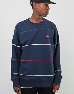 Nike SB Everett Stripe Crew - Obsidian/Red Crush