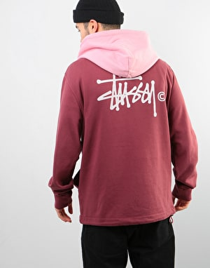 Stüssy Two Tone Pullover Hoodie - Burgundy