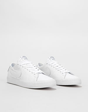 Nike SB Zoom Blazer Low NBA Skate Shoes - White/White-Rush Blue-Univer