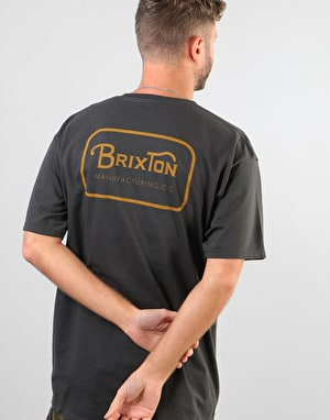Brixton Grade S/S Standard T-Shirt - Washed Black/Gold