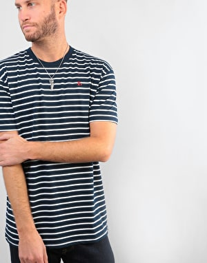 Route One Single Stripe T-Shirt - Navy/White