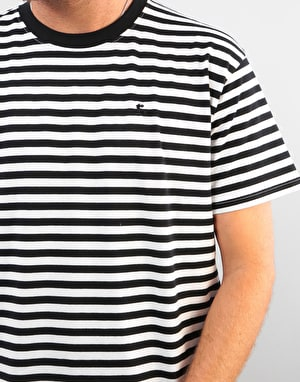 Route One Single Stripe T-Shirt - Black/White