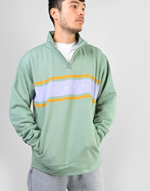 Obey Gaze Mock Neck Zip - Light Sage