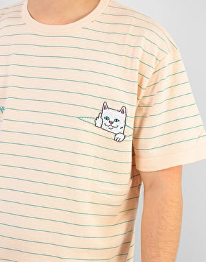 RIPNDIP Peeking Nermal Jacquard Knit T-Shirt -  Natural/Teal