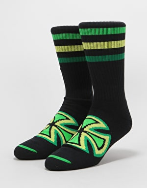 Independent Coloured Stripes Crew Socks 2 Pack -Black