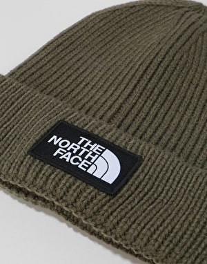The North Face Logo Box Cuffed Beanie - New Taupe Green