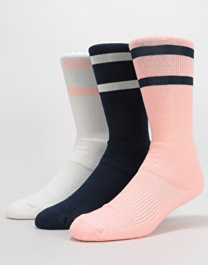 Nike SB Crew Skateboarding Socks 3 Pack - Pink/Navy/White