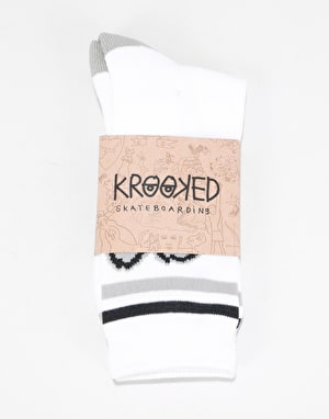 Krooked Big Eyes Socks - White/Grey/Black