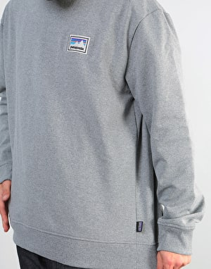 Patagonia Shop Sticker Patch Uprisal Crew Sweatshirt - Gravel Heather