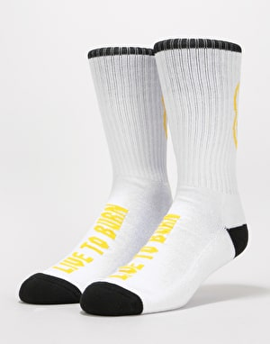Spitfire Heads Up Socks - White/Black/Yellow