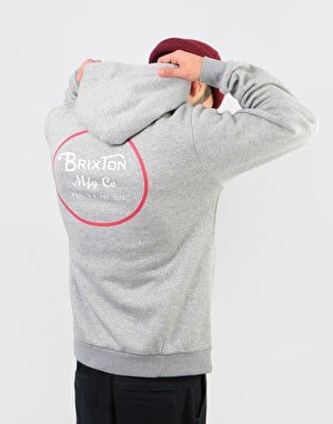 Brixton Wheeler Intl Pullover Hoodie - Heather Grey/Red