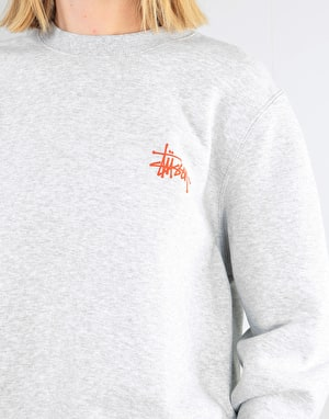 Stüssy Womens Basic Logo Crew - Ash Heather