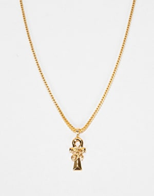 Midvs Co 18K Gold Plated Ankh & Eye Necklace - Gold