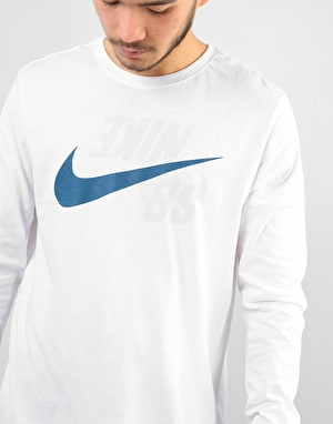 Nike SB Backwards L/S T-Shirt - White/Blue Force