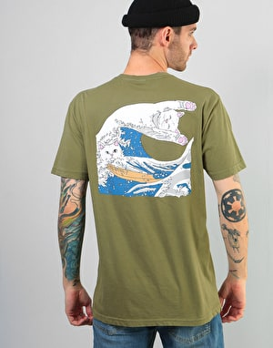 RIPNDIP Great Wave of Nerm T-Shirt - Olive