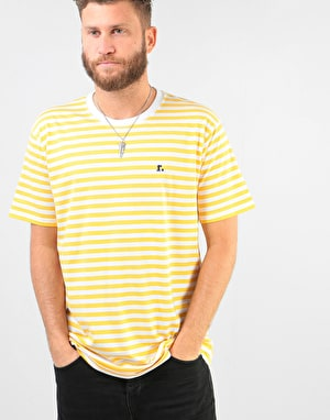 Route One Single Stripe T-Shirt - White/Yellow