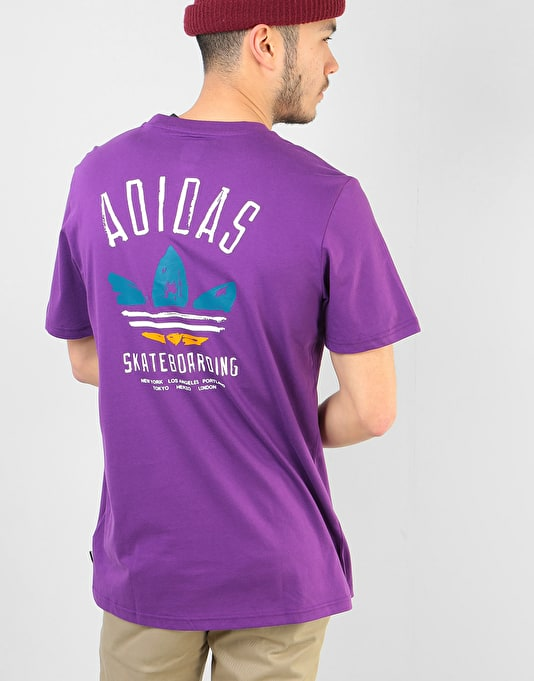 Adidas Brushstroke T-Shirt - Tribe Purple/Real Teal/Tactile Yellow