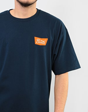 Brixton Stith T-Shirt - Navy/Orange