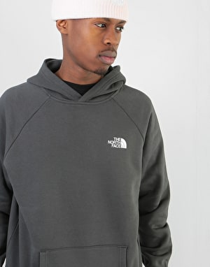 The North Face Raglan Red Box Pullover Hoodie - Asphalt Grey/Orange