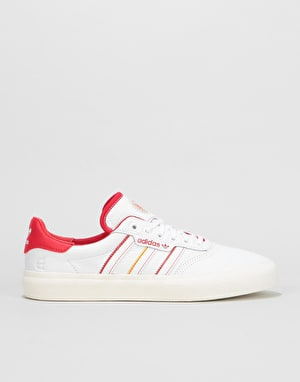 Adidas x Evisen 3MC Skate Shoes - White/Scarlet/Gold Metallic