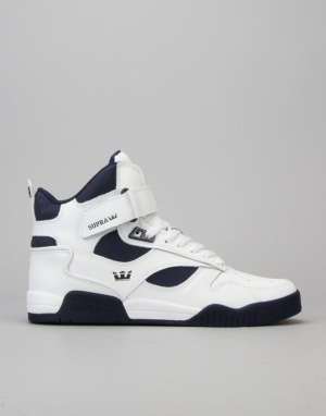 Supra Bleeker Skate Shoes - White/Navy/Navy