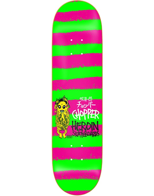 Heroin Chopper Striped Icon Skateboard Deck - 8""