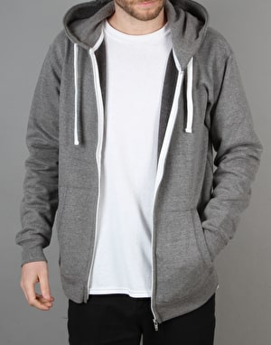 Route One Basic Zip Hoodie - Heather Grey